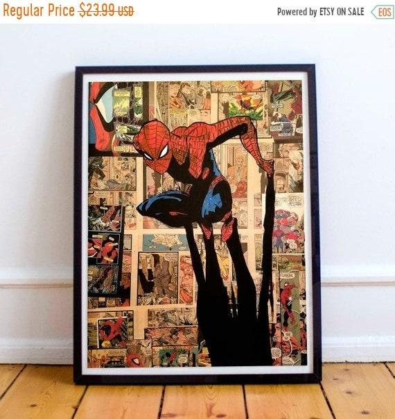 On Sale Crouching Spider - Amazing Spider-Man Collage Painting Fine Art Print