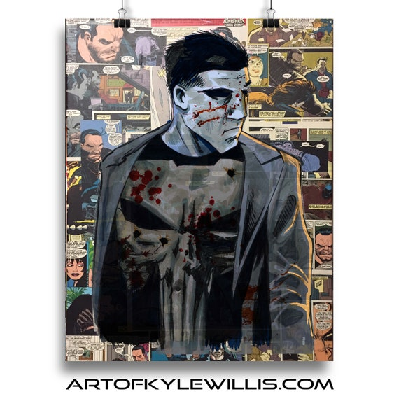The Punisher Frank Castle acrylic painting collage fine art print