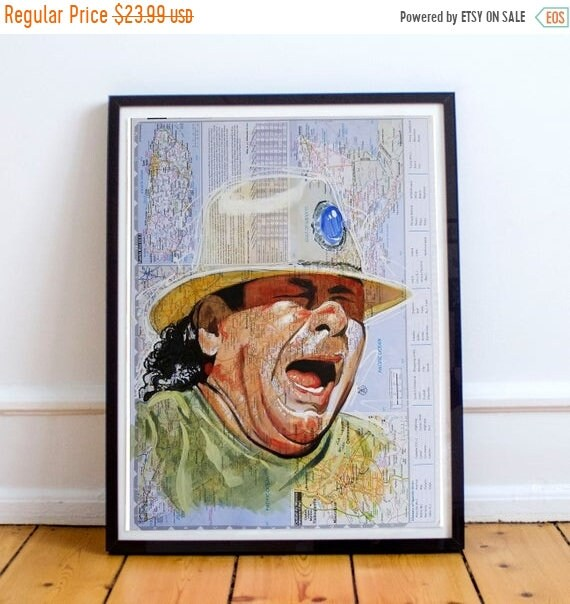 On Sale Santana on a Map of Mexico - Sketch Atlas  Fine Art Print