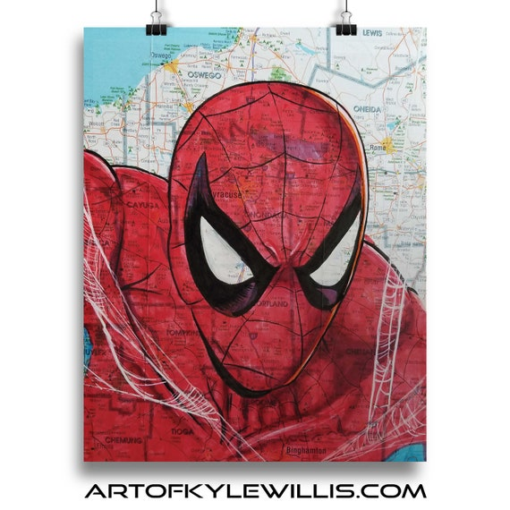 Spider-Man from SoHo - NYC Map Fine Art Print