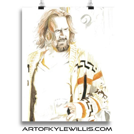 The Dude The Big Lebowski Watercolor Painting Fine Art Print