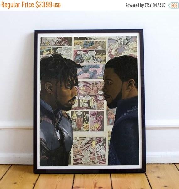 On Sale Face Off - Black Panther & Erik Killmonger Collage Painting Fine Art Print