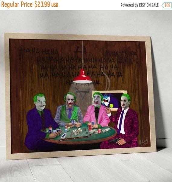On Sale The Joker's Wild - Batman Gotham Villain Dark Knight Playing Poker Cesar Romero, Jack Nicholson, Mark Hamil and Heath Ledger Fine Ar