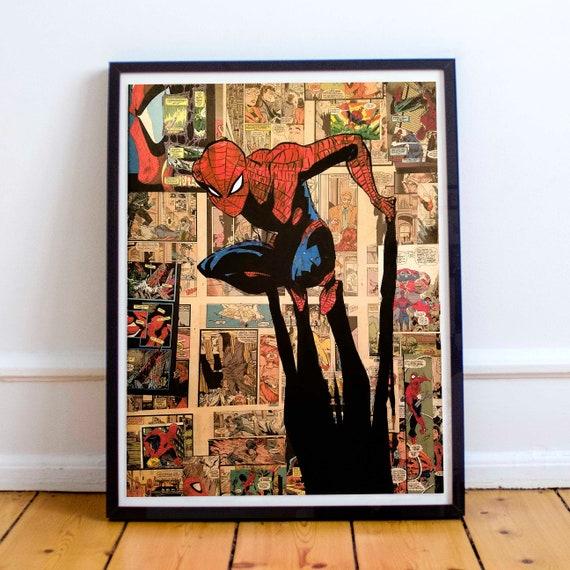 Crouching Spider - Amazing Spider-Man Collage Painting Fine Art Print