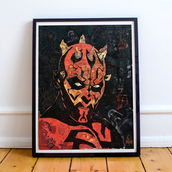 Darth Maul - STAR WARS Sith Appreitice Mosaic Collage Fine Art Print