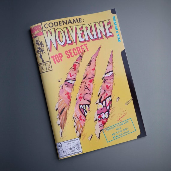 One-of-a-kind comic - Wolverine #50 Comic with acrylic remarque featuring Sabertooth peeking through the claw holes.