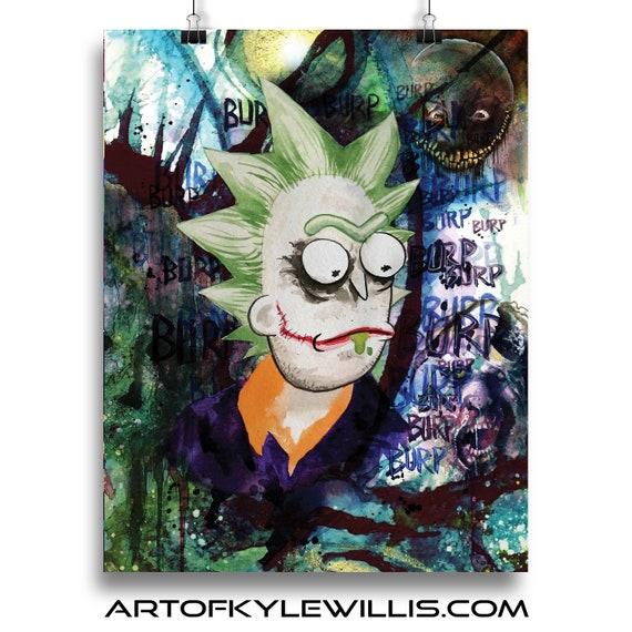 Joker Rick - Rick and Morty Batman Fine Art Print