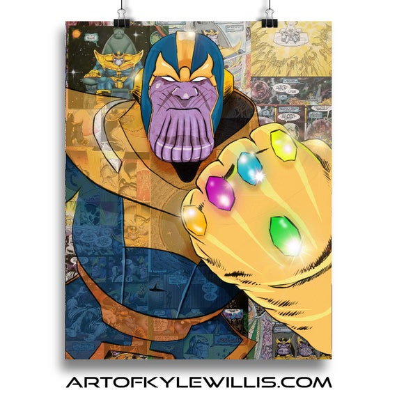 Thanos - Avengers Endgame Villain Infinity Gauntlet Infinity War Collage Painting Fine Art Print