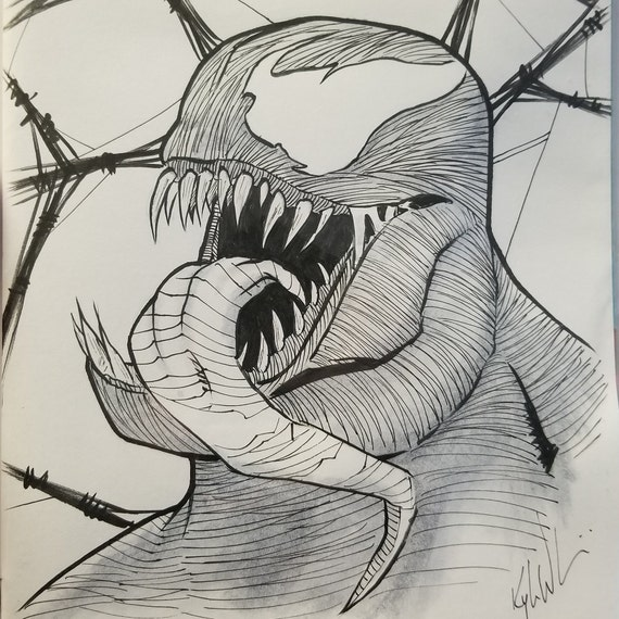 Spider-Gwen Blank Sketch Cover with Venom Sketch OOAK