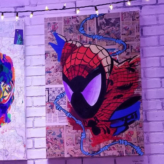 Spidey Collage Acrylic Painting
