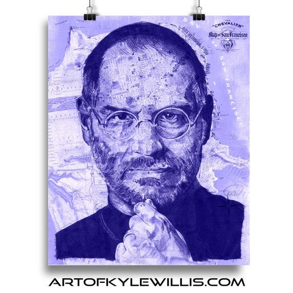 Steve from California - Steve Jobs Sketch Atlas San Francisco Map Limited Edition Print