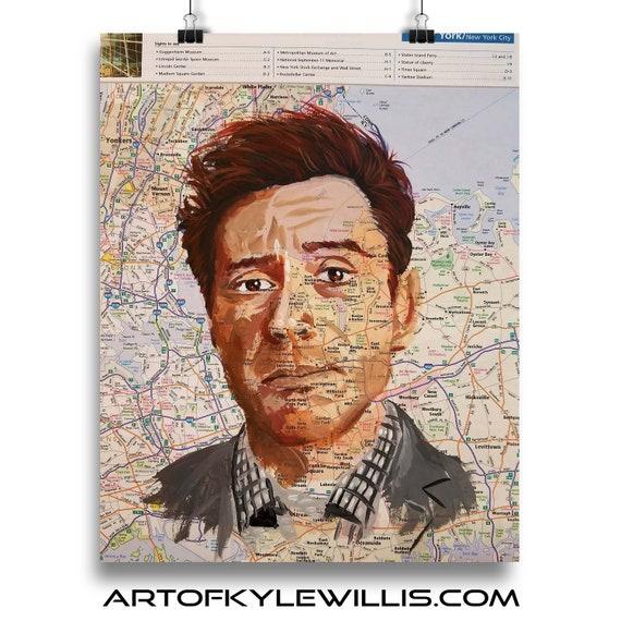 Robert Downey Jr from New York Tony Stark Sketch Atlas marker portrait fine art print