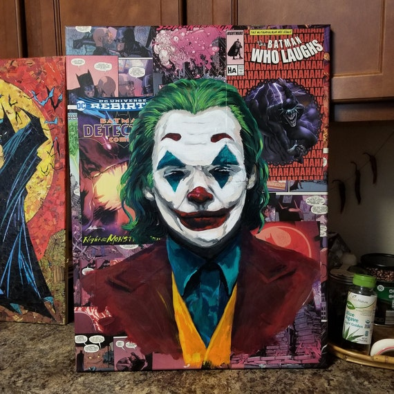 Batman Joker Joaquin Phoenix Collage Fine Art Painting