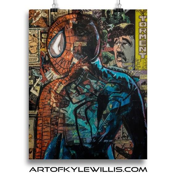 No Regrets - Amazing Spider-Man Collage Painting Fine Art Print