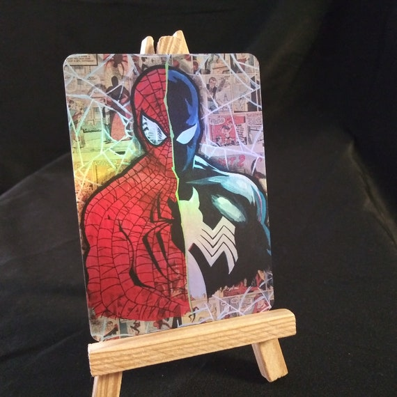 Split Spidey Collage Holofoil Trading Card