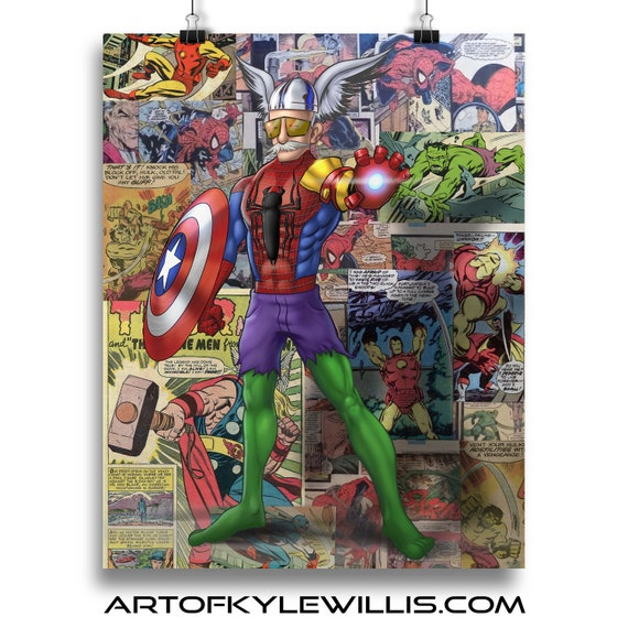 Stan Lee - Mash up with Thor, Spider-Man, Hulk, Iron Man and Captain America Fine Art Print