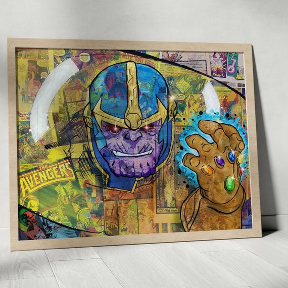 Thanos - Avengers Endgame Villain Infinity Gauntlet Infinity War Collage Painting Fine Art Print