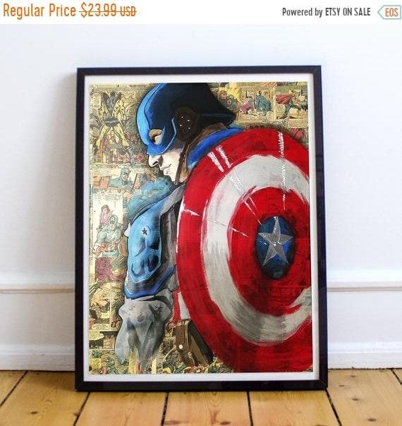 On Sale Captain America - Avengers Collage Painting Fine Art Print