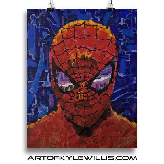 Spider-man eyes on his city acrylic painting fine art print