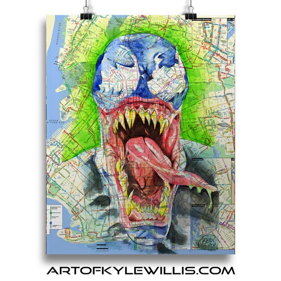Venom takes New York - Eddie Brock Spider-Man NYC Sketch Atlas  Fine Art Print