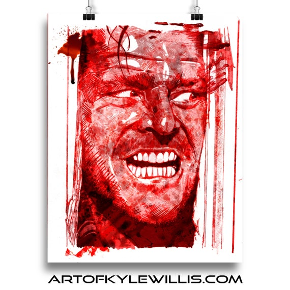 Horror The Shining Here's Johnny marker illustration