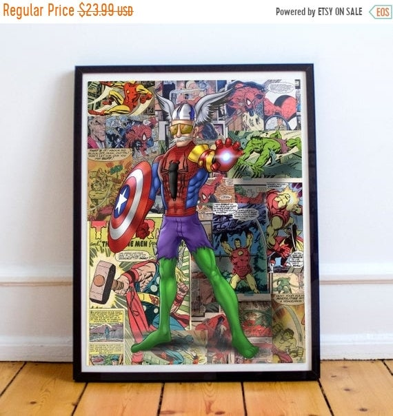 On Sale Stan Lee - Mash up with Thor, Spider-Man, Hulk, Iron Man and Captain America Fine Art Print