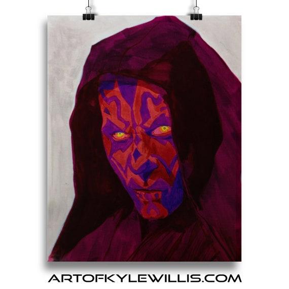 Star Wars Darth Maul The Dark Side Watercolor Fine Art Print