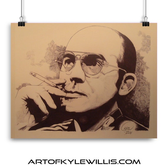 Hunter S Thompson ballpoint pen portrait fine art print