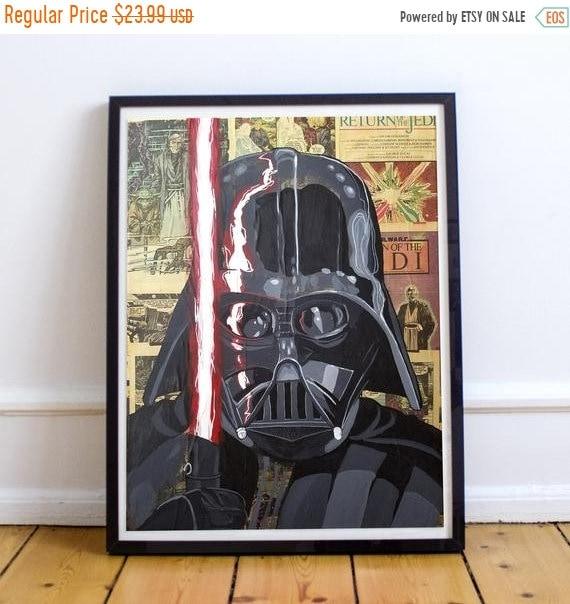 On Sale Darth Vader - STAR WARS Sith Lord Acrylic Collage Fine Art Print