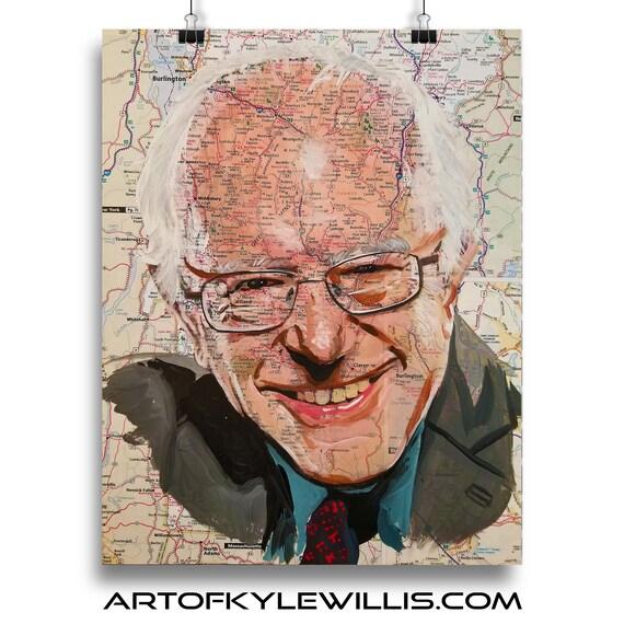 Bernie from Vermont - Senator Sanders Sketch Atlas Fine Art Print