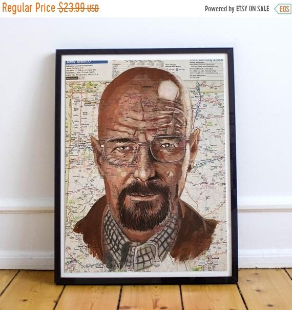 On Sale Walt from New Mexico - Heisenburg Breaking Bad Walter White Bryan Cranston Sketch Atlas Fine Art Print