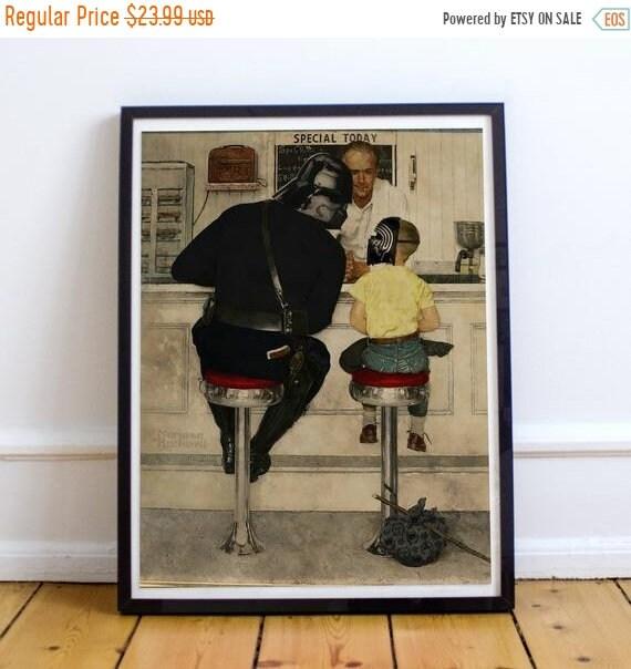 On Sale Darth Vader & Kylo Ren - STAR WARS Norman Rockwell Fine Art Print