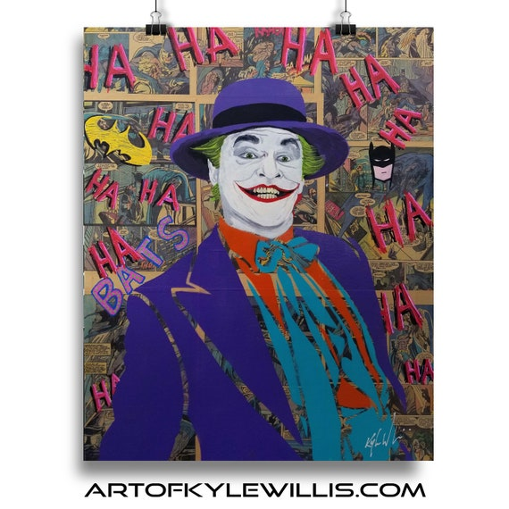 Batman Joker Jack Nicholson Collage Painting Fine Art Print