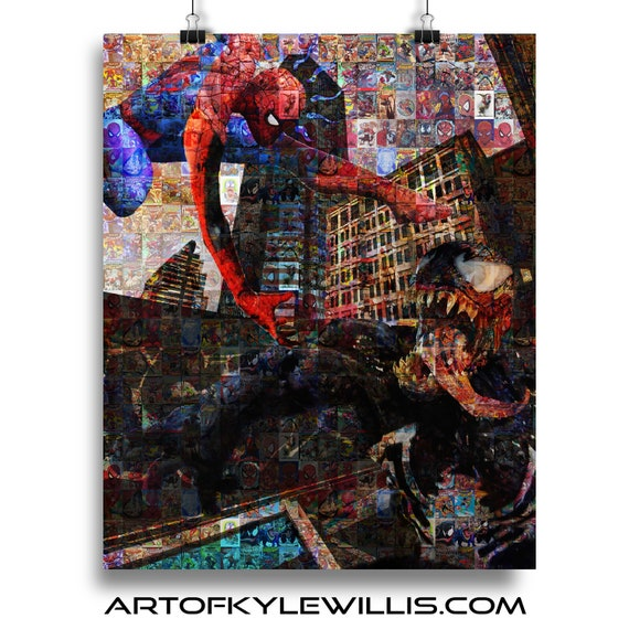 Battle in the Bowery- Amazing Spider-Man Venom Photomosaic Fine Art Print