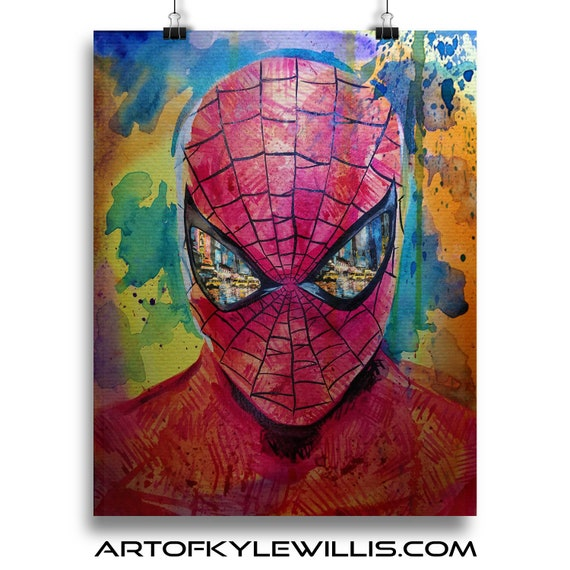 Eyes on New York City- NYC Amazing Spider-Man Watercolor Fine Art Print