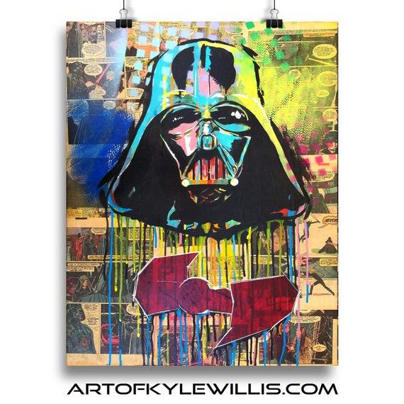Star Wars Darth Vader Acrylic Tie Fighter Collage Fine Art Print