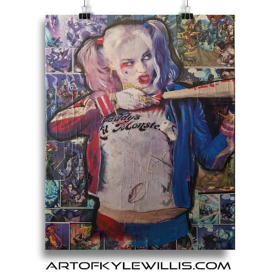 Batman Harley Quinn Collage Painting Fine Art Print