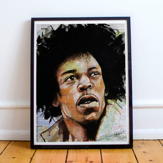Jimi from Seattle - Jimi Hendrix Seattle Washington Sketch Atlas  Fine Art Print