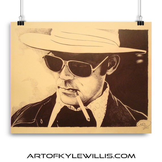 Hunter S Thompson fedora ballpoint pen portrait fine art print