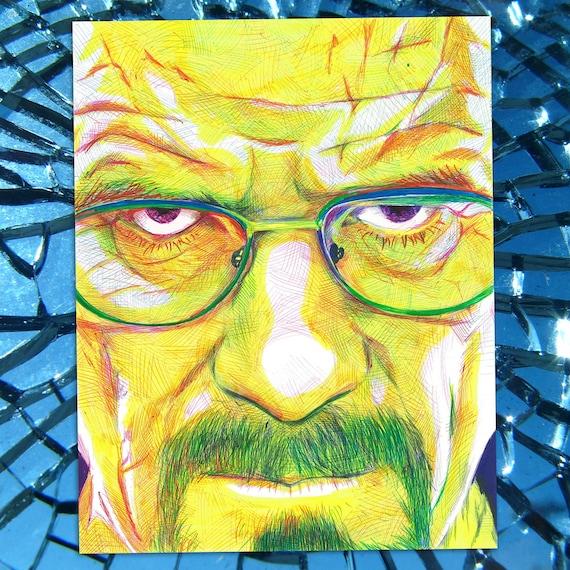 Heisenberg - Breaking Bad Walter White Bryan Cranston Ballpoint Pen Illustration Fine Art Print