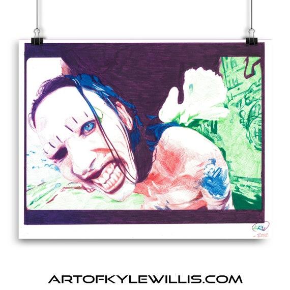 Marilyn Manson ballpoint pen portrait fine art print