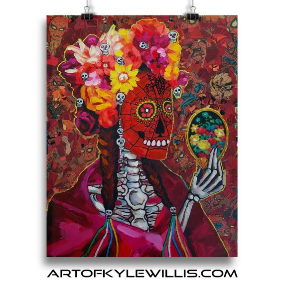 Spider-Man Frida Kahlo Mexican Day of the Dead Mosaic Collage Fine Art Print