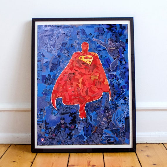Superman - Justice League Mosaic Collage Fine Art Print