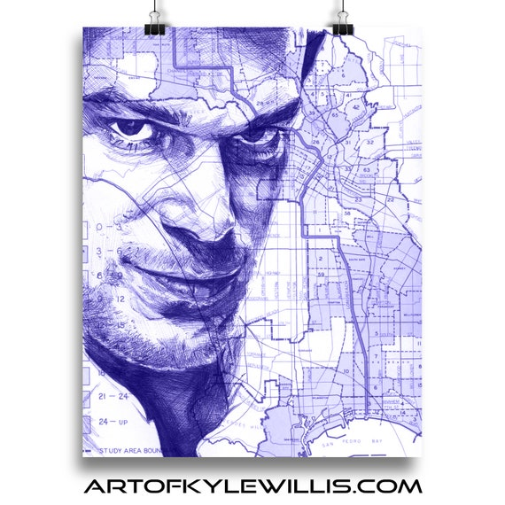 Dexter Morgan over a map of Miami Ballpoint Pen Illustration Fine Art Print