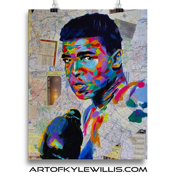 Cassius from Kentucky - Muhammad Ali Sketch Atlas SIGNED Fine Art Print