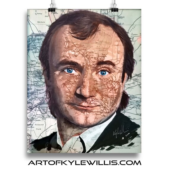 Phil Collins from England Genesis Sketch Atlas marker portrait fine art print