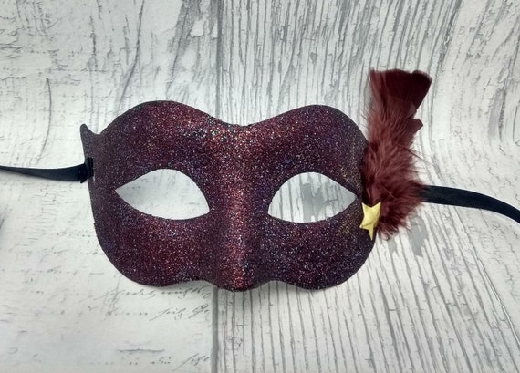 Feather Mask Flame Star Mardi Gras Colors Masquerade Ball Halloween Prom Party