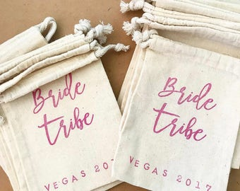 Personalized Bride Tribe bag - hangover kit- bachelorette kit - bridesmaid gift - bridal party favor - bachelorette favor - favor bag