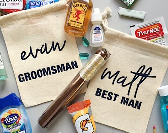 Best man and groomsman bag- hangover kit- survival bag- groomsmen kit- bachelor survival kit- hangover bag- groomsmen gift - best man gift