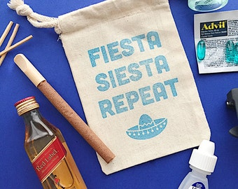 Fiesta siesta hangover bag- hangover kit- hangover relief- groomsmen gift- wedding favor- bachelorette favor- recovery kit- party favor bag